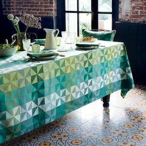 "Mille Quartz Emeraude Tablecloth 59""x59"", Coated Cotton"
