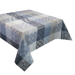 """Mille Tiles Anthracite Tablecloth Square 69""""x69"""", Coated Cotton"""