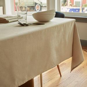 """Mini Natte Beige Tablecloth 72""""x100"""", 100% Cotton"""