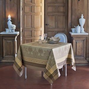 """Fontainebleau Tilleul Tablecloth 69""""x100"""", Stain Resistant Cotton"""
