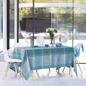 """Mille Dentelles Turquoise Tablecloth 71""""x118"""", 100% Cotton"""