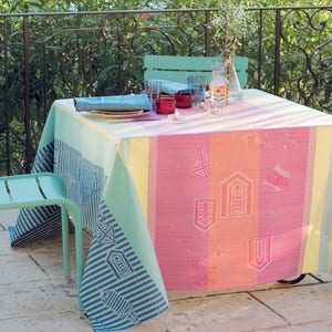 "Mille Eole Marin Tablecloth 71""x71"", 100% Cotton"