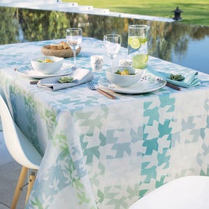 "Mille Hirondelles Menthol Tablecloth 61""x61"", 100% Cotton"