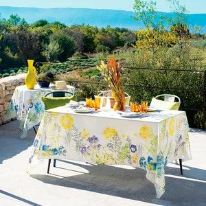 """Fleurs Champetres Floraison Tablecloth 45""""x45"""", Cotton-linen blend"""