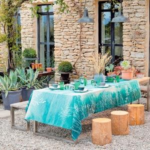 "Mille Silhouettes Indigo Tablecloth 45""x45"", Cotton-linen blend"