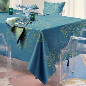 "Mille Branches Paon Tablecloth 71""x71"", 100% Cotton"