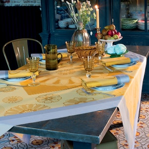 """Murano Curry Tablecloth 61""""x61"""", 100% Cotton"""