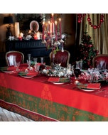 Noel Baroque Rouge Jacquard Tablecloth, Stain Resistant Cotton