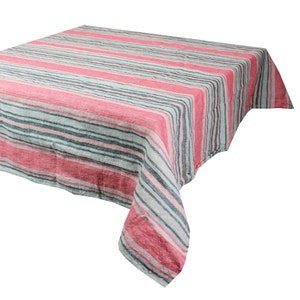 "Sombrilla Corail Tablecloth 45""x45"", 100% Linen"