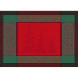 Noel Etoile Rouge Jacquard Placemat, Stain Resistant Cotton Image