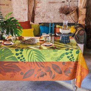 Orange Festival Citrus Jacquard Tablecloth, Stain Resistant Cotton Image