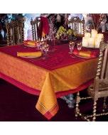 Palerme Orange Sanguine Jacquard Tablecloth, Stain Resistant Cotton