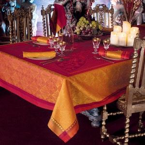"""Palerme Orange Sanguine Tablecloth 69""""x100"""", Stain Resistant Cotton"""