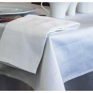 "Partridge Eye Border White Tablecloth 63""x63"", 100% Cotton"