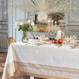 Persina Dore Jacquard Tablecloth, Stain Resistant Cotton