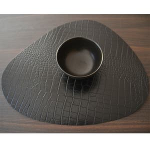 """Recycled Leather Black Croco Placemat, Cloud 17.25x14.25"""""""