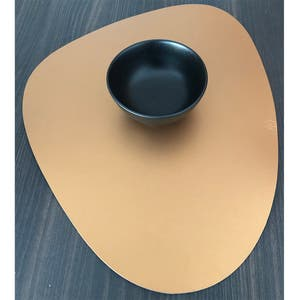 """Recycled Leather Gold Placemat, Cloud 17.25x14.25"""""""