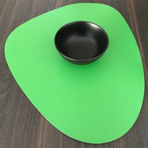 """Recycled Leather Green Placemat, Oval 16.5x12.25"""""""
