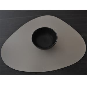 """Recycled Leather Pearl Grey Placemat, Oval 16.5x12.25"""""""