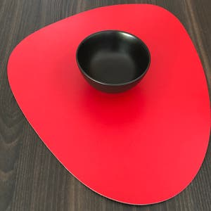 """Recycled Leather Red Placemat, Oval 16.5x12.25"""""""
