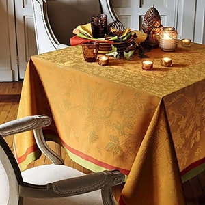 "Plaisirs D Automne Roux Tablecloth Square 69""x69"", Green Sweet Stain Resistant Cotton"