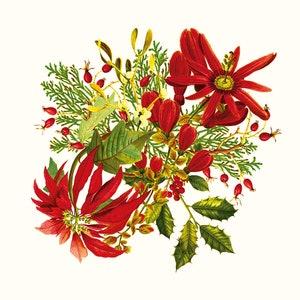Poinsettias Vintage Napkin, 100% Cotton Image