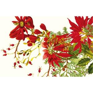 Poinsettias Vintage Placemat, 100% Cotton Image