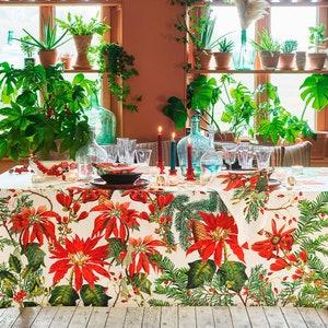 Poinsettias Vintage Tablecloth, 100% Cotton Image