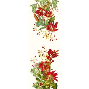 Poinsettias Vintage Tablerunner, 100% Cotton Image