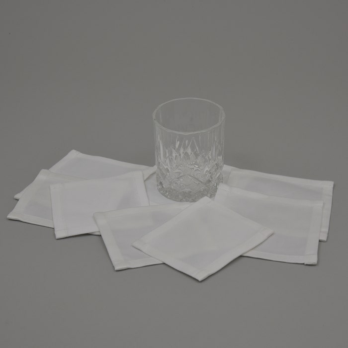 Pure Linen White Cocktail Napkin, 100% Linen, Set of 4