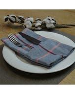 "Quadramuri Navy/Red Napkin 22""x23"", 100% Cotton, Set of 4"