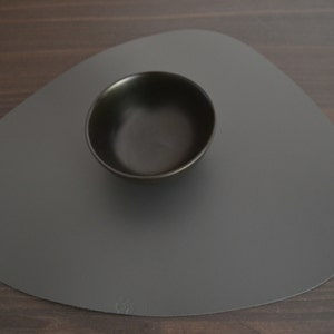 Plain Dark Grey Placemat, 100% Recycled Leather