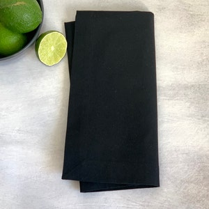"Recycled Cotton Black Napkin 20""x20"", 100% Cotton, Set of 4"