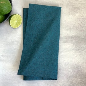 "Recycled Cotton Teal Napkin 20""x20"", 100% Cotton, Set of 4"