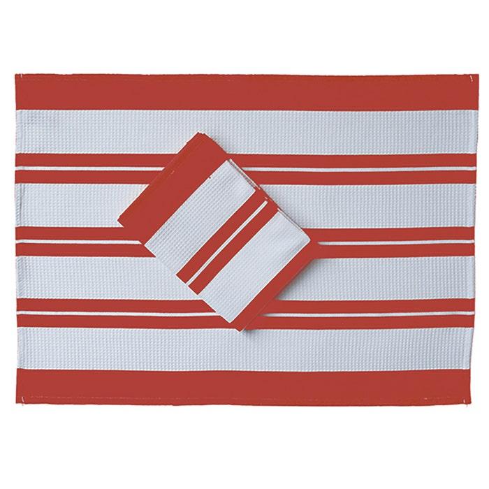 Crimson Waffle Red Stripe Kitchen Towel