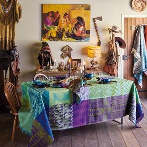 Santa Fe Vert Jacquard Tablecloth, Stain Resistant Cotton Image