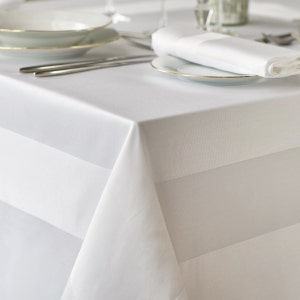 Satin Band Cottonrich White Tablecloth