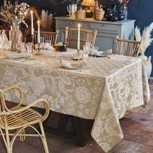 "Scarlett Naturel Jacquard Tablecloth 69""x143"", 100% Linen Image"