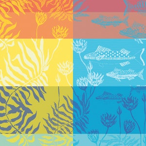 "Aquatic Rainbow Napkin 22""x22"", 100% Cotton"