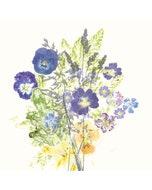 """Fleurs Champetres Floraison Napkin 18""""x18"""", Cotton-linen blend"""