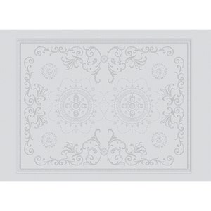 """Eloise Diamant Placemat 21""""x15"""", Green Sweet Stain-resistant Cotton"""