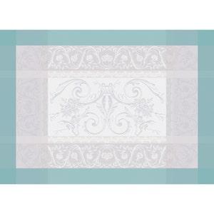 """Jardin De La Reine Celadon Placemat 21""""x15"""", Green Sweet Stain-Resistant Cotton"""