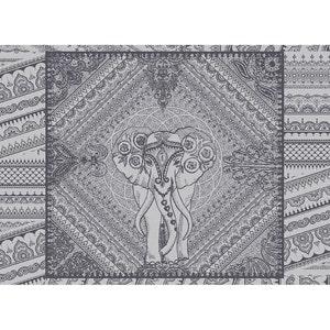 """Jodhpur Uni Noir Placemat 22""""x16"""", Green Sweet Stain-resistant Cotton"""