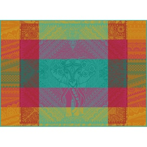 """Jodhpur Festival Placemat 22""""x16"""", Green Sweet Stain-resistant Cotton"""