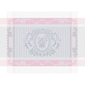 """Lysandra Rose Placemat 22""""x16"""", Green Sweet Stain-resistant Cotton"""