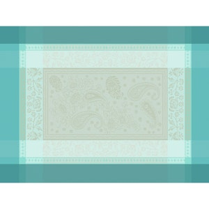"""Pondichery Lagon Placemat 21""""x15"""", Green Sweet Stain-resistant Cotton"""