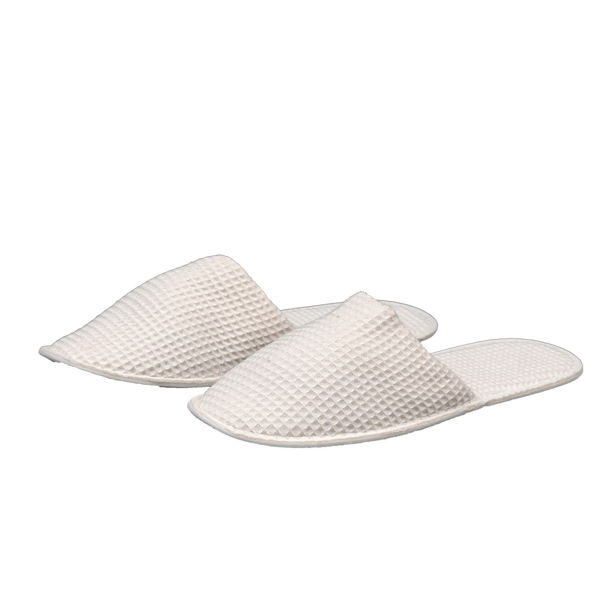 Closed Toe Slippers, One Size, Waffle 100% Cotton