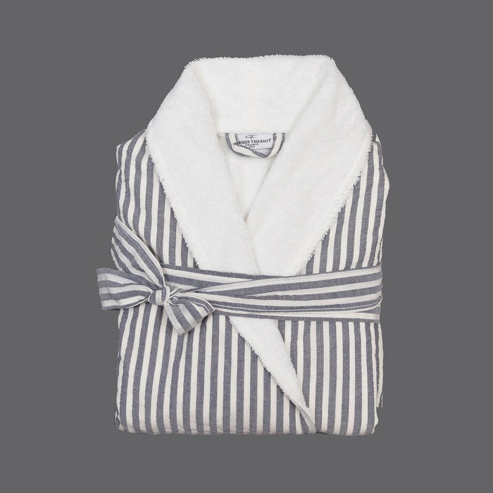 Stripes Grey and White Terry Robe