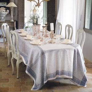 Symphonie Nuage Jacquard Tablecloth, 100% Linen