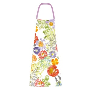 """Mille Fleur Sauvage Floraison Apron 28""""x33"""", 100% Cotton"""
